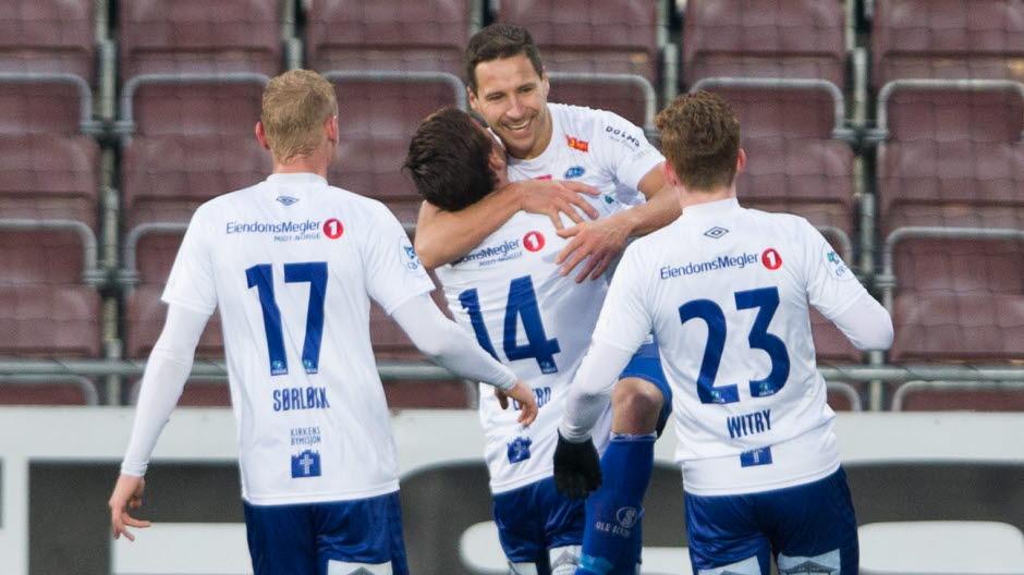 9e4ec31c Mjøndalen 20171119. Ranheims Mads Reginiussen jubler for 2-1 under  kvalifiseringskampen til Eliteserien mellom. Ranheim ...